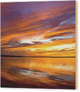 Sunset On The Harbor Wood Print