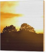Sunset On The Hill Wood Print