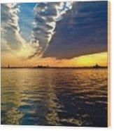 Sunset On The Hudson 03 New York Wood Print