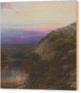 Sunset On The Hudson Wood Print