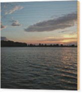 Sunset On The Lake Wood Print