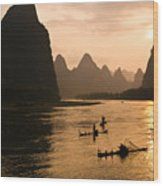 Sunset On The Li River Wood Print