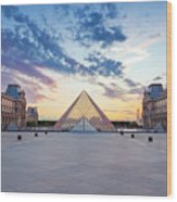 Sunset On The Louvre Wood Print
