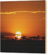 Sunset On The Mara Wood Print
