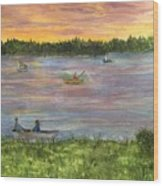 Sunset On The Merrimac River Wood Print
