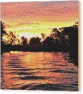 Sunset On The Murray River Wood Print