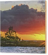 Sunset On The North Shore Of Oahu Wood Print