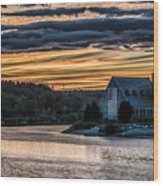 Sunset on The Old Stone Church Wood Print