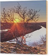 Sunset On The Osage River Wood Print