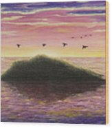 Sunset On The Pacific Wood Print