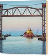 Sunset On The Port Of Chicago Waterfront Wood Print