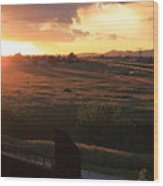 Sunset On The Railroad Track Wood Print