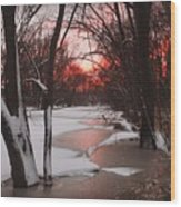 Sunset On The Red Cedar Wood Print