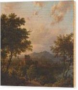 Sunset On The Rhine , Barend Cornelis Koekkoek Wood Print