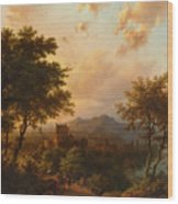 Sunset On The Rhine Wood Print