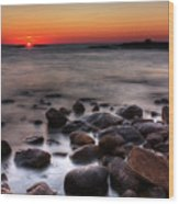Sunset On The Rocks Wood Print