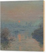 Sunset On The Seine At Lavacourt, Winter Effect Wood Print