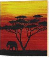 Sunset On The Serengeti Wood Print