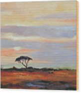 Sunset On The Serengheti Wood Print