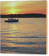 Sunset On The Strand Wood Print