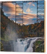 Sunset On The Upper Falls Wood Print