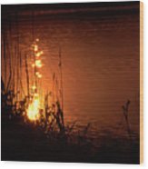 Sunset On The Water Wood Print by Barry Shaffer