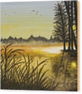 Sunset On The Water Wood Print