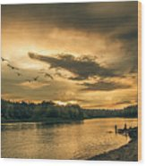 Sunset On The Willamette River Wood Print
