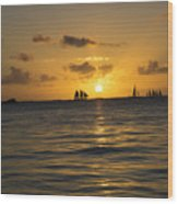 Sunset On Two Masts  Wood Print