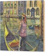 Sunset On Venice - The Gondolier Wood Print