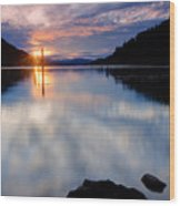 Sunset On Wolf Lodge Bay Wood Print