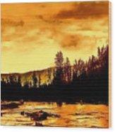 Sunset At  Yellowstone Lake Wood Print