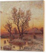 Sunset Over A Ukrainian Hamlet Wood Print
