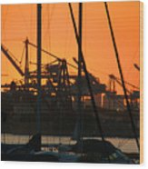Sunset Over Alameda Harbor Wood Print