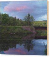 Sunset Over Amoonoosuc River Wood Print