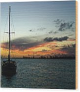 Sunset Over Anegada Wood Print