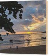 Sunset Over Ao Nang Beach Thailand Wood Print