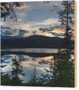 Sunset Over Arrow Lake Wood Print