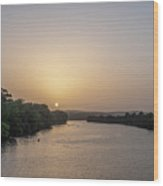 Sunset Over Austin Texas River Wood Print