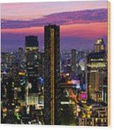Sunset Over Bangkok Wood Print