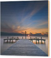 Sunset Over Barnegat Bay Wood Print