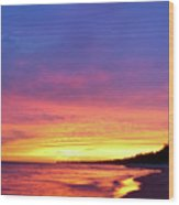 Sunset Over Beach Wood Print