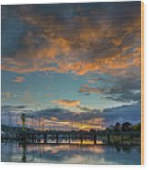 Sunset Over Boat Ramp At Anacortes Marina Wood Print