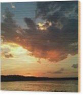 Sunset Over Bridgeport Lake Wood Print