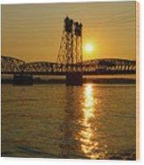 Sunset Over Columbia Crossing I-5 Bridge Wood Print