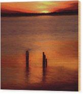 Sunset Over Currituck Sound Ap Wood Print