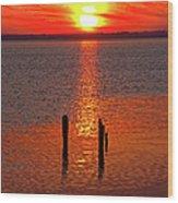 Sunset Over Currituck Sound Wood Print