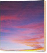 Sunset Over Desert Wood Print