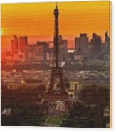 Sunset Over Eiffel Tower Wood Print