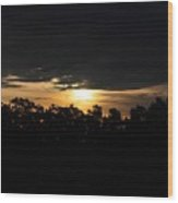 Sunset Over Farm And Trees - Silhouette View  Wood Print